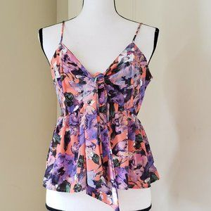 LEITH Floral Salmon Purple Strappy Top